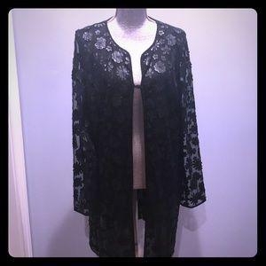 Karl Lagerfeld flower appliqué mesh jacket